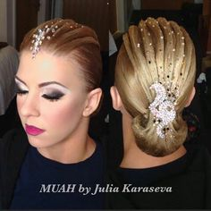 Ballroom hair by Julia Karaseva Perfectly styled hair is an important part of the overall look for ballroom dance competitors. Ballroom Hair stylists can get very creative. Latin Hairstyles, Celebrity Hairstyles, Vintage Hairstyles, Wedding Hairstyles, Down Hairstyles, Dance Competition Hair, Ballroom Dance Hair, Bleached Hair Repair, Dance Makeup
