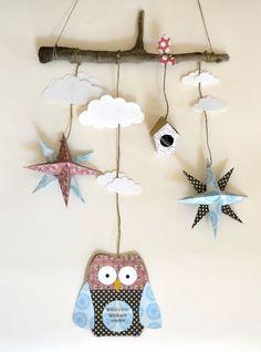 Mobile hibou, étoile origami, chambre d'enfant