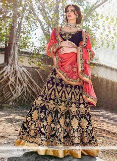 Splendid Purple Zari Velvet Lehenga Choli
