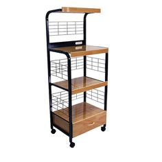 ORE International Black Metal Base with Wood Metal Top Kitchen Cart (17-in x 25.5-in x 59.5-in) in the Kitchen Islands & Carts department at Lowes.com Pantry Cupboard, Kitchen Pantry, Kitchen Storage, Storage Spaces, Kitchen Dining, Dining Room, Microwave Cart, Microwave Stand