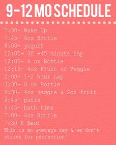 9-12 month baby schedule