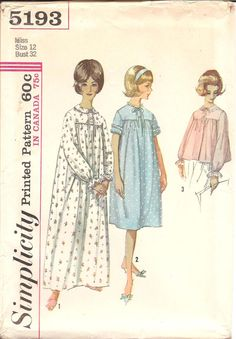 1960s Womens Bedjacket Nightgown  Simplicity 5193 by ErikawithaK