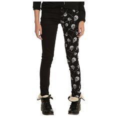 Royal Bones Wire Skull Split Leg Skinny Jeans   Hot Topic ($32) ❤ liked on Polyvore