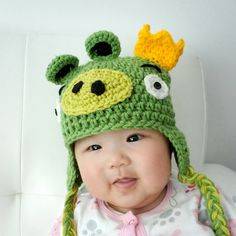 Green Pig Hat Inspired by Angry Birds Pig Hat Crochet by QQCrochet, $19.99