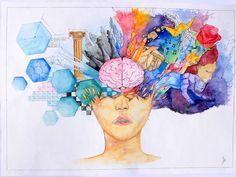 Left and Right Brain painting Brain Painting, Brain Drawing, Brain Art, Arte Com Grey's Anatomy, Anatomy Art, Brain Anatomy, Whole Brain Teaching, Grafik Design, Art Plastique