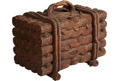 Early-20th-C. Carved Log Trunk