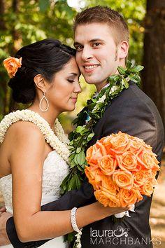 Orange rose bouquet, lei for bride and groom. Hawaiian wedding.  Seattle Wedding Photographer, Laura Marchbanks Photography, wedding at the Landmark Events Center, Des Moines, Washington.
