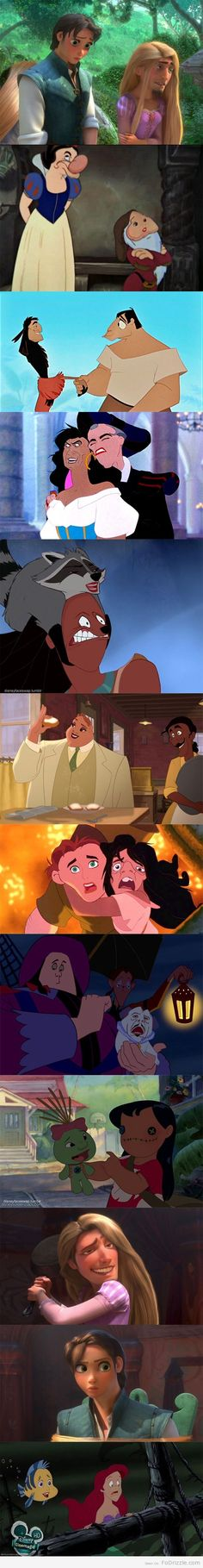 Disney Face juggles  (it got me at the emperor's new groove lolol)