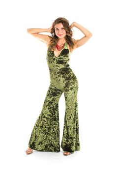 Emerald green Velvet Tigra Onesie also known as a sexy jumpsuit, body suit or cat suit with bell bottomed pants. *Customized Fit*