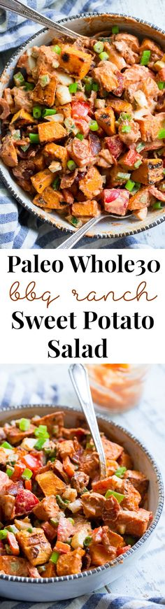 This BBQ Ranch Sweet Potato Salad is loaded with flavor and goodies! Roasted sweet potatoes are tossed with peppers and onions, crispy bacon, and an easy Whole30 compliant BBQ ranch dressing.  It's family approved, perfect for any summer party and no one will guess it's paleo!
