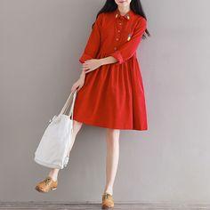 Mferlier Mori Girl Artsy Corduroy Autumn Dress Turn Down Collar Pineapple  Embroidered Long Sleeve Waist Pleated A Line Dress b8bb1de655d6