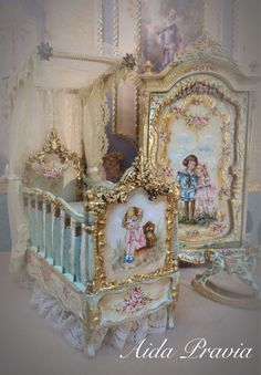 Fairy Furniture, Miniature Furniture, Dollhouse Furniture, Shabby Chic Furniture, Painted Furniture, Baby Crib Bedding, Baby Pillows, Baby Cribs, Canopy Crib