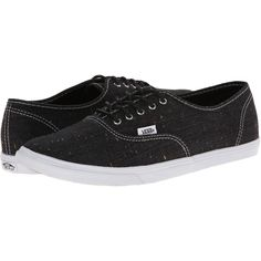Vans Authentic Lo Pro Black/True White) Skate Shoes, Black ($23) ❤ liked on Polyvore featuring shoes, sneakers, black, white evening shoes, vans trainers, white shoes, special occasion shoes and vans shoes