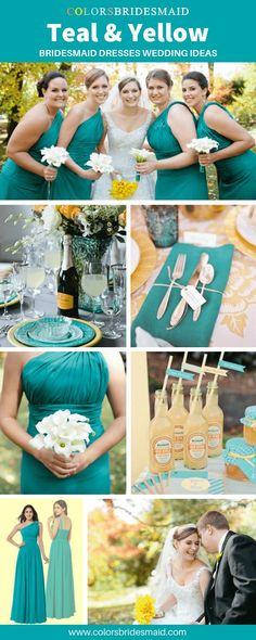 Teal bridesmaid dresses wedding ideas, wonderful with yellow bridal bouquets, teal table decorations and napkins. Teal Bouquet, Bridal Bouquet Fall, Bridal Bouquets, Jimmy Connors, Restaurant Bar, Sushi Bar, Wedding Colors, Wedding Ideas, Teal Yellow Wedding