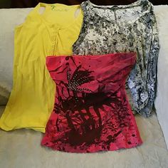 (3) Bundle of Tops 1. Wet Seal Tube Top 2. Nollie Racer Back Tank 3. Love Culture High Low Flowy Tank (size marked large, but fits well as small/medium) Tops