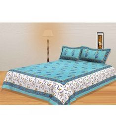 Sea Green Bordered Mughal Print Cotton Double Bedsheet