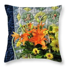 """Visitors to this pin might like to see this bouquet image """"Orange and Yellow Delights"""" online at Fine Art America (Click the image). Pillows come in six sizes, in cotton or polyester poplin. The image can also be purchased as prints, greeting cards, phone cases and more. Here is the link: https://fineartamerica.com/featured/orange-and-yellow-delights-nancy-lee-moran.html ♡ Thank you from the artist! Photo of Sunbonnet Sue quilt and flowers © Nancy Lee Moran #daisy #lily #NancyLeeMoran…"""