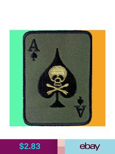 Skull Crossbones Black Ace VIETNAM US ARMY NAM Patch Iron On Embroidered