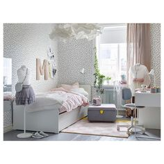 IKEA - SLÄKT, Bed frame w/pull-out bed + storage, , The pull-out bed is perfect to roll out when a friend sleeps over and there's room for both bed linens and toys in the 2 drawers. Room Decor For Teen Girls, Teen Girl Rooms, Teenage Girl Bedrooms, Girls Bedroom, Teenage Room, Ikea Girls Room, Teen Decor, Girl Nursery, Master Bedroom