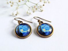 Starry night Van Gogh Earrings  on Etsy. So pretty!