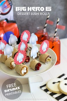 Big Hero 6 Dessert Sushi Rolls plus FREE Baymax Printables!