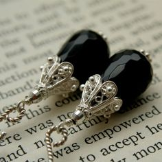 Faceted Black Onyx Teardrop Earring with by BellaRoxDesigns, $32.00