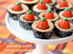 Pumpkin Patch Cookie Cupcakes~ A pumpkin Halloween dessert idea