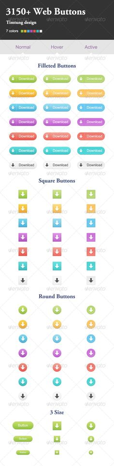 3150  Web Buttons?  PSD, PNG3 Different Styles 7 Different Colors 4 Sizes Icons (12px, 14px, 18px, 24px) Color & B&W Versions Incl