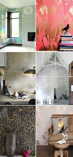 modern wallpaper, metallic finishes/patterns