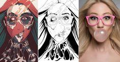 Dibujos hechos con fotografías de personas reales
