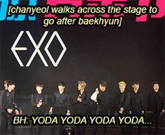 Everyone watches as Chanyeol starts hunting for Baekhyun meat. Oh baekkie. Exo Chanbaek, Kim Minseok, Baekhyun Chanyeol, Park Chanyeol, K Pop, Namjin, Park Shin, Yoonmin, Taekook