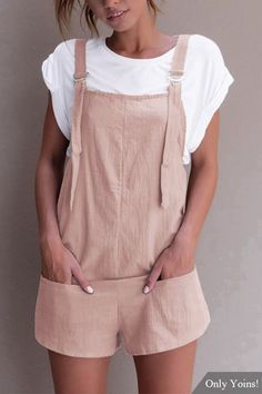 Casual Sleeveless Overalls Romper in Pink