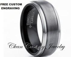 Gun Metal Tungsten Wedding BandMens by CleanCastingJewelry on Etsy