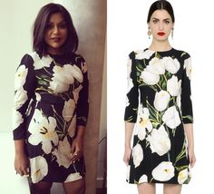 Mindy Kaling looking beautiful in this tulip print dress in NYC!
