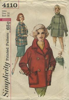 Vintage Sewing Pattern | Coat and Carcoat with Hood | Simplicity 4110 | Year 196? | Bust 36 | Waist 28 | Hip 38