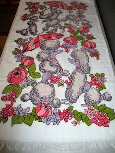 1960's Harmony House Simpsons Sears Fringed  Terry Towel  Kitsch Poodles by GwensHaberdashery on Etsy