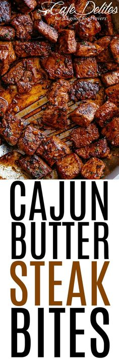 Cajun Butter Steak Bites - tender and juicy pan seared cajun butter steak bites are full flavoured with crispy edges. Ready in under 10 minutes without any marinating needed, these Cajun Butter Steak Bites are a quick and easy family favourite! Cajun Recipes, Beef Recipes, Cooking Recipes, Recipies, Sizzle Steak Recipes, Cubed Steak Recipes, Minute Steak Recipes, Healthy Steak Recipes, Cooking Time