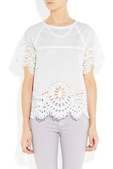 Isabel Marant Dream broderie anglaise cotton-blend top
