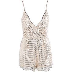 Honey couture rose gold sequin playsuit (£80) ❤ liked on Polyvore featuring jumpsuits, rompers, sequin romper, white sequin romper, white romper, playsuit romper and sequin rompers