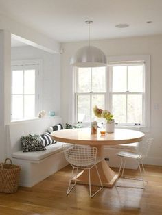 Single Hung Windows Idea And Cool Pendant Light In Stylish Breakfast Nook Feat Wire Mesh Chairs Design Plus White Corner Banquette