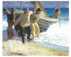 Plakat<br>Oscar Björck<br>Båden sættes i søen. Skagen : vis