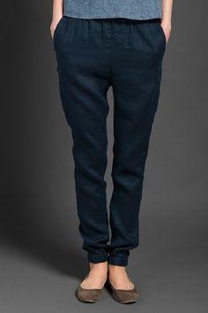 Dark blue linen pants trousers women/Dark gray linen pants women