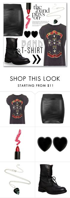"""""""Band tee!"""" by lilymillyrose ❤ liked on Polyvore featuring Topshop, Lime Crime, Dollydagger, Steve Madden, bandtshirt and bandtee"""