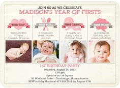 A birthday invitation with all of her firsts from Tiny Prints.