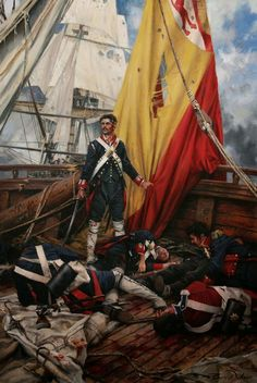 Stylised picture of a defeated captain of a Spanish vessel at the Battle of Trafalgar. Military Art, Military History, Spanish Heritage, Spanish War, Spain History, Conquistador, Historical Art, Napoleonic Wars, Tall Ships