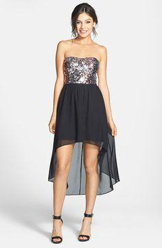 One Shoulder Glitter Ombre Prom Dress - David\'s Bridal | Juinor ...