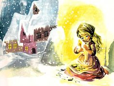 'The Little Girl with the Little Match' (Detail)  'The Golden Book of Fairytales' Collins Publishing, 1966,United Kingdom Illustration by Felicitas Kuhn