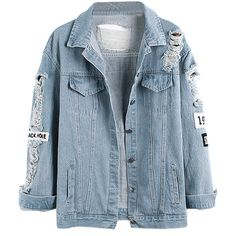Choies Light Blue Letter Patch Ripped Pockets Denim Coat (75 BRL) ❤ liked on Polyvore featuring outerwear, coats, jackets, tops, blue, blue coat, denim coat, light blue coats, patch coat and pocket coat