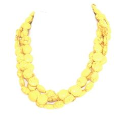 Chunky yellow necklace - statement necklace - spring necklace - bridesmaids necklace. $49.00, via Etsy.