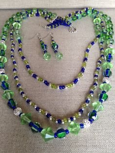 Blue Green Multi-Strand Beaded Necklace with FREE matching earrings and bracelet statement necklace gifts for her Multi Strand Necklace, Diy Necklace, Silver Rounds, Earring Set, Blue Green, Glass Beads, Gifts For Her, Handmade Jewelry, Etsy Shop